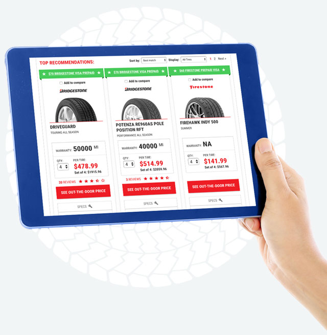 Tablet displaying the TireConnect interface